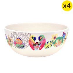 "Bamboo bowls Ø 15 cm - set of 4 - ""Parrots"""