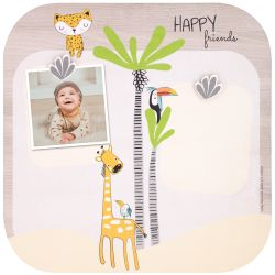 Wooden photo collage with magnet Gigi the giraffe