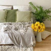 Plaid cachemire et laine Marron Glacé - Plaid Léger petits chevrons - 130 x 230 cm