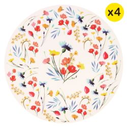 "Large bamboo plates Ø 25 cm - set of 4 - ""Wildflowers"""
