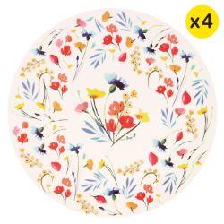 "Grandi piatti in bambù Ø 25 cm - set di 4 - ""Fiori di campo"""