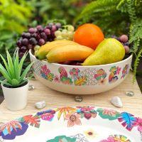 """Bamboo salad bowl Ø 28 cm - large size - """"Parrots"""""""