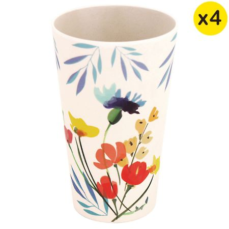 """Bamboo glasses - Ecological tumbler - Set of 4 - """" Wildflowers"""""""