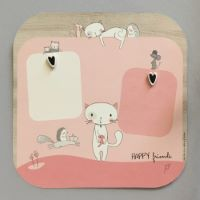 """Grand Pêle-Mêle tableau photo enfant avec magnets en bois """"Lily le Chaton"""" - Cadeau bébé / enfant"""