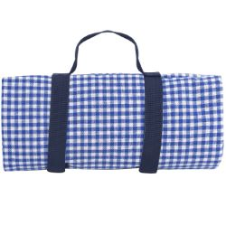 Picnic blanket, with Waterproof backing - Blue gingham, (140 x 280 cm)