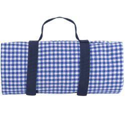 Nappe XL pique-nique, vichy bleu, à revers étanche (280 x 140 cm)