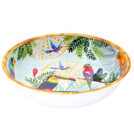 Large Soup-Pasta plate in melamine - 23 cm - Toucans of Rio