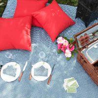 Manta para picnic talla grande impermeable vichy verde oscuro/ blanco - (140 x 280 cm)