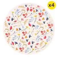 "Small bamboo dessert plates Ø 20 cm - set of 4 - ""Wildflowers"""