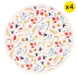 "Piccoli piatti da dessert in bambù Ø 20 cm - set di 4 - ""Fiori di campo"""