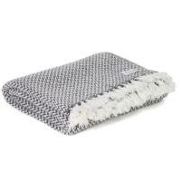 Plaid comfort cashmere e lana, motivo chevron piccolo Grigio Antracite - 130 x 230 cm