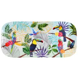 Long rectangular cake dish in melamine - 37,5 cm - Toucans of Rio