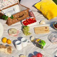 Beigefarbene Picknickdecke mit weißen Punkten und wasserundurchlässiger Rückseite (140 x 140 cm)