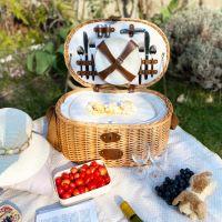 """Cestino da picnic 4 persone """"Vendôme"""" naturale con piatti in fibra de bambù"""