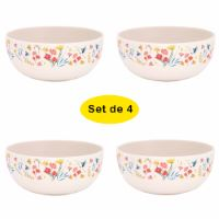 "Bamboo bowls Ø 15 cm - set of 4 - ""Wildflowers"""