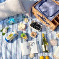 Nappe pique-nique Bleu et Blanc à rayure à revers imperméable (140 x 140 cm)
