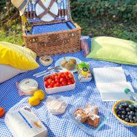 XL picknick tafelkleed, blauw geruit, met waterdichte revers (280 x 140 cm)