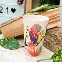 "Bamboo glasses - Ecological tumbler - Set of 4 - ""Parrots"""