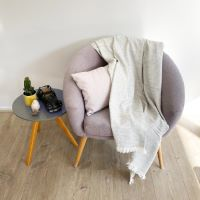Throw in cashmere and wool - Silver grey diamond pattern - 130 x 230 cm