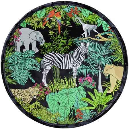 Plat de service rond en mélamine quasi-incassable thème Jungle