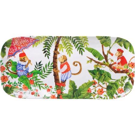Plat à cake long en mélamine du thème Singes de Bali