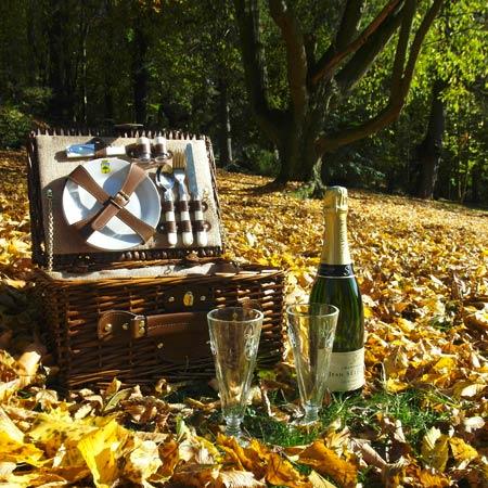 Panier pique-nique Saint-Michel 2 personnes posé dans les feuilles mortes de l'automne.