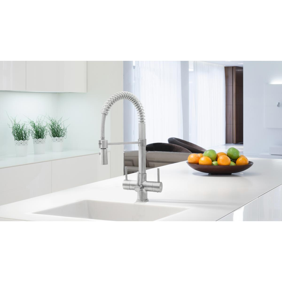 Milano Spray 3 Lever, 3 Way Kitchen Tap Brushed Steel & EcoAqua Water Filter System