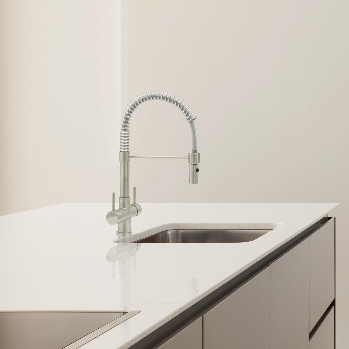 Milano Spray 2 Lever, 3 Way Kitchen Tap Brushed Steel
