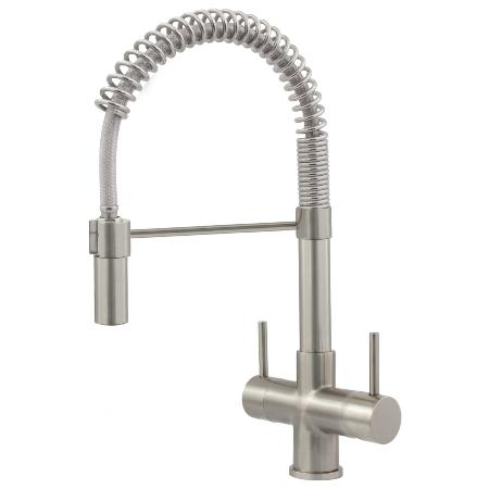 Milano Brushed Steel Pull Down Spray Kitchen Tap - Single Flow 2 Lever, 3 Way Tap Brushed Steel
