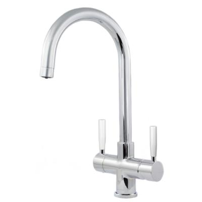 Florence 2 Lever, 3-Way Kitchen Water Filter Tap in Chrome with White Levers