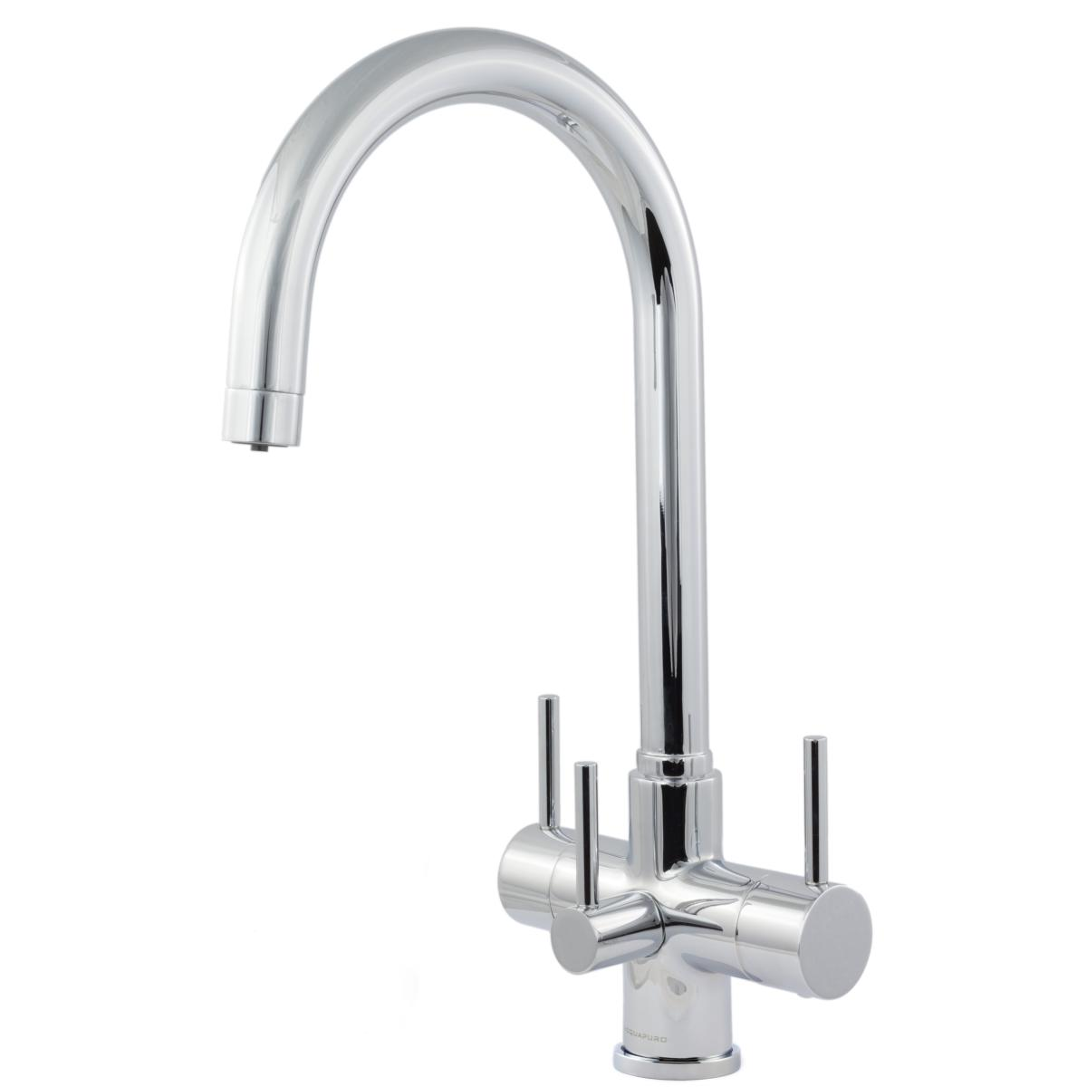 Verona 3-Way, 3 lever Kitchen Filter Tap Chrome & Inline Drinking Water Filter