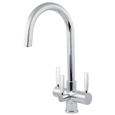 Florence 3 Lever Triflow Kitchen Filter Tap Chrome & White Levers