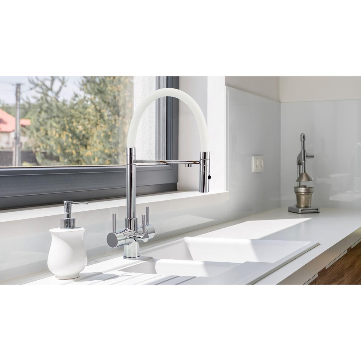 Acquapuro Aquila 3-Way 3 Lever Spray Kitchen Filter Tap White & Chrome