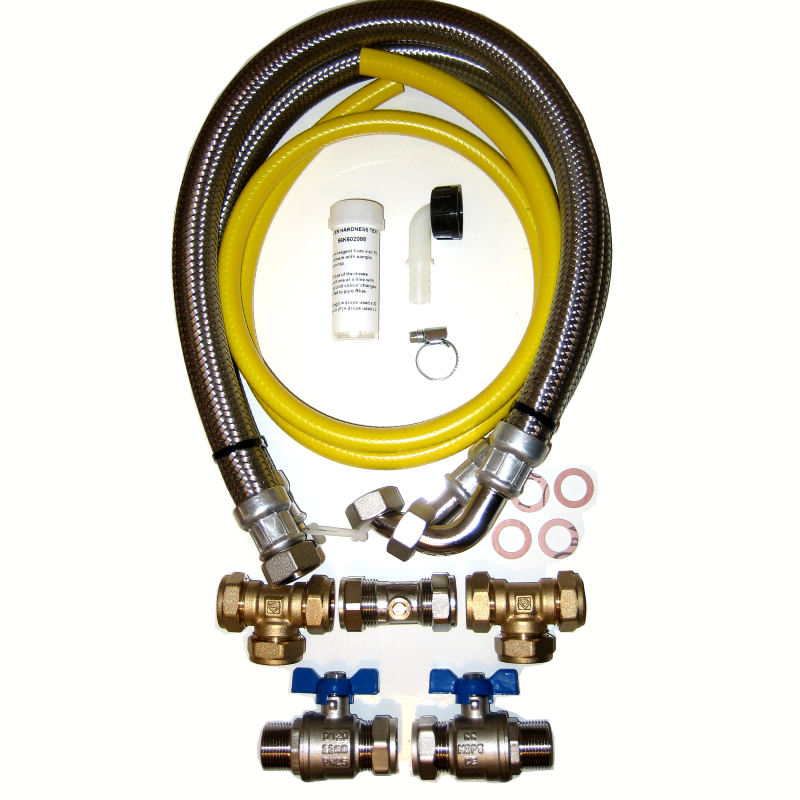 22mm Water Softener Installation Kit & 1000mm Hoses
