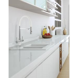Acquapuro Aquila 3-Way 2 Lever Spray Filter Tap White/Chrome & Doulton Ecofast Drinking Water System