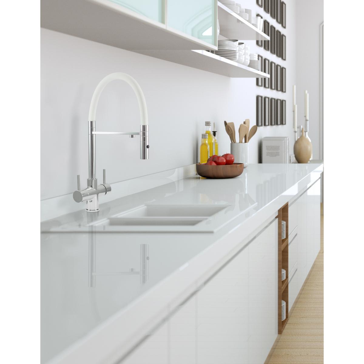 Acquapuro Aquila 3-Way 2 Lever Spray Kitchen Filter Tap White & Chrome