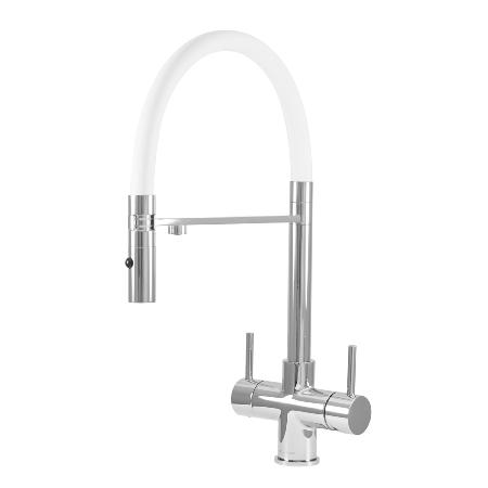 Acquapuro Aquila 3-Way 2 Lever Spray Kitchen Filter Tap White & Chrome