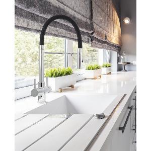 Acquapuro Aquila 3-Way 2 Lever Spray Kitchen Filter Tap Black & Chrome