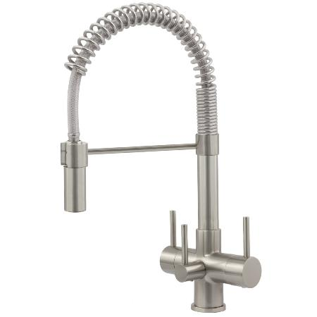 Milano Spray Brushed Steel 3 Lever, 3 Way Kitchen Filter Tap & Cuno Drinking Water System