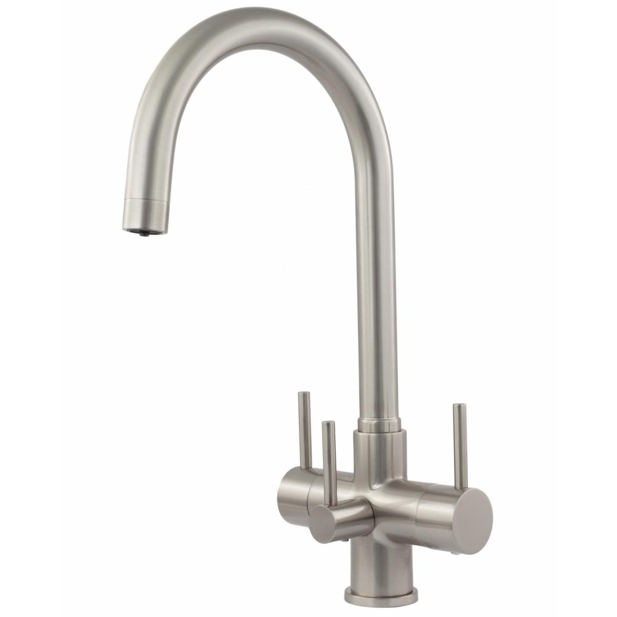 Verona 3-Way, 3 lever Kitchen Filter Tap Brushed Steel