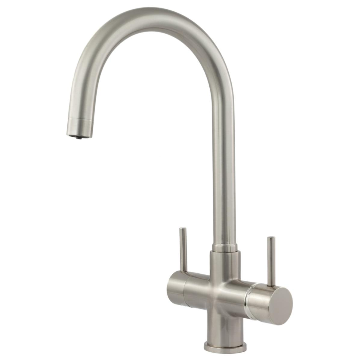 Verona 3-Way 2 lever Kitchen Filter Tap Brushed Steel
