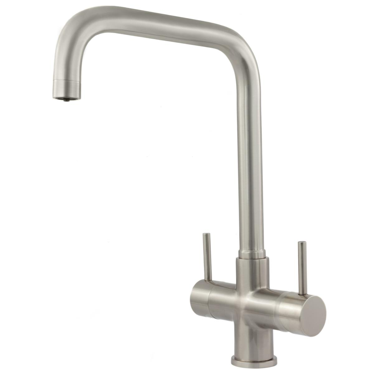 Monza 2 Lever 3 Way Kitchen Filter Tap Brushed Steel