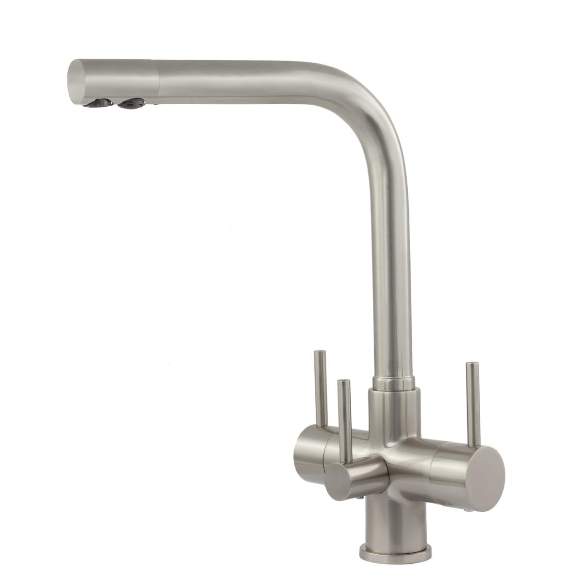 Sorrento 3 Lever 3 Way Kitchen Filter Tap Brushed Steel