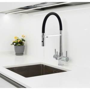 Acquapuro Aquila 3 Way 3 Lever Spray Filter Kitchen Tap Black & Chrome