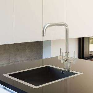 Monza 3 Lever 3 Way Kitchen Filter Tap Brushed Steel