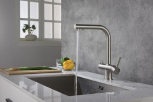 Apala 3-Way Pull-Out Kitchen Filter Tap Brushed Steel