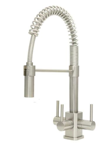 Acquapuro Milano SQ 3-Way 3 Lever Spray Kitchen Filter Tap Brushed Steel