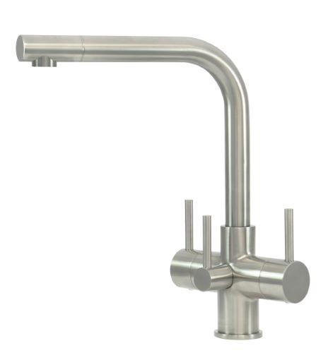 Sorrento 3 Lever 3 Way Kitchen Filter Tap Brushed Steel