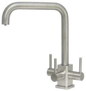 Acquapuro Monza SQ 3-Way 3 Lever Kitchen Filter Tap Brushed Steel