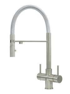 Acquapuro Aquila 3-Way 2 Lever Spray Kitchen Filter Tap Brushed Steel
